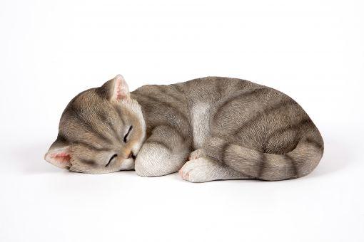 Mooie slapend grijs Kat tuinbeeld kopen