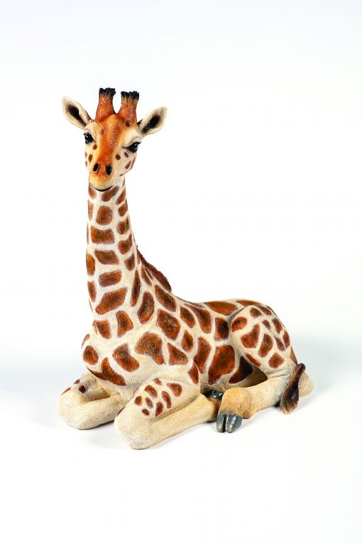 Mooie zittende  Giraffe tuinbeeld kopen