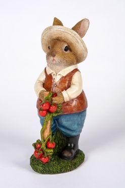 Mooie tomaten plukkende jongens Konijn tuinbeeld kopen