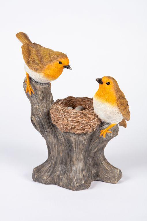 Mooie Roodborstjes  op nest tuinbeeld kopen